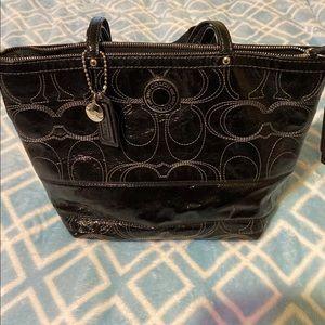 Coach signature black patent leather handbag